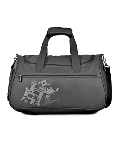 3b37a0c11268 Nasher Miles Flanders Polyester 45CM Soft-Sided Gym Duffle Bag Grey Small   Amazon.in  Bags
