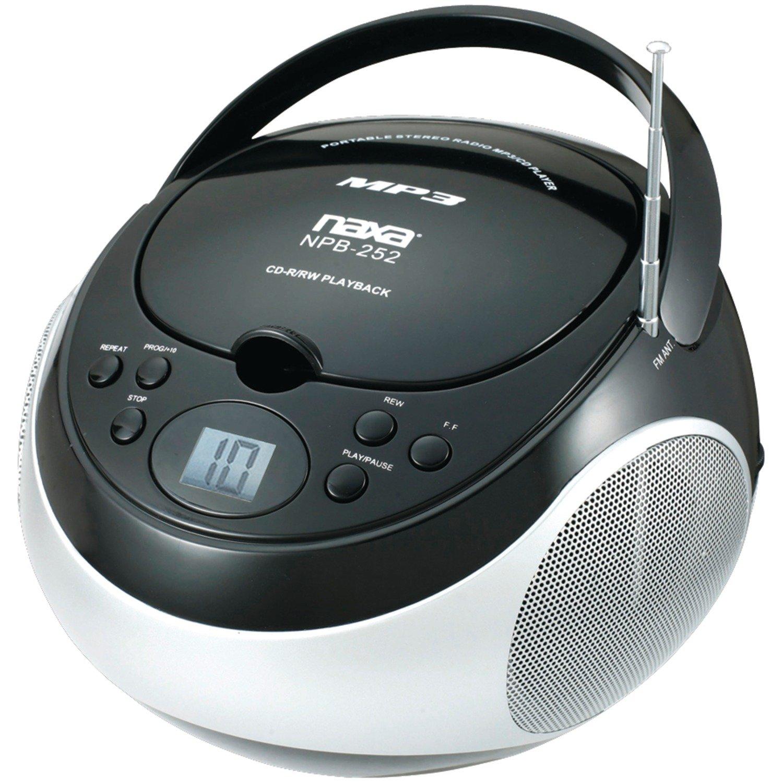 NAXA NPB252BK Portable CD//MP3 Players with AM//FM Stereo Black