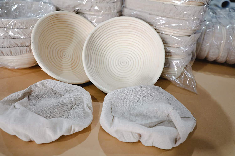 DOYOLLA 8.5 inch Round Banneton Brotform Bread Dough Proofing Rising Rattan Basket /& Liner for Professional /& Home Bread Baking 1 basket +1 liner