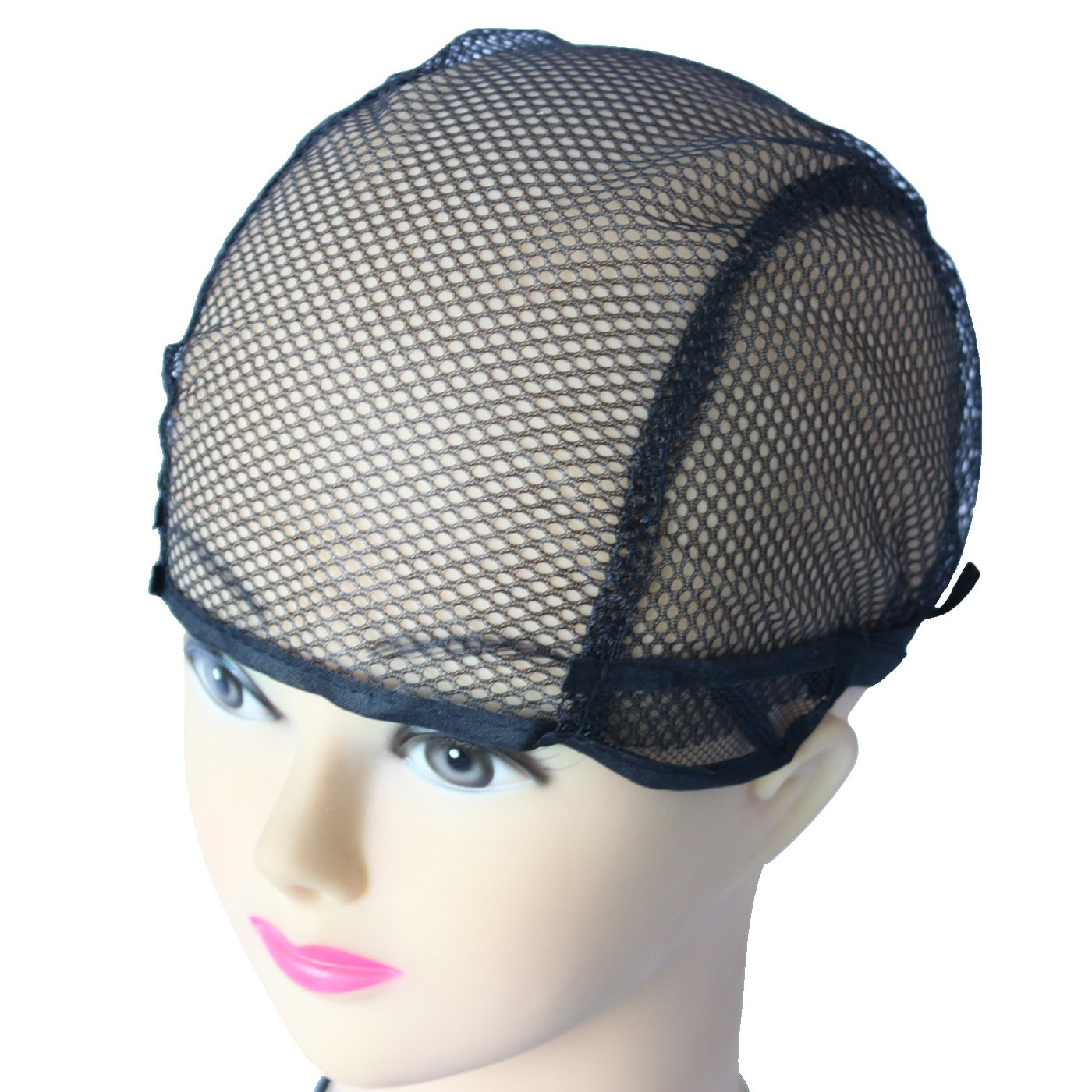 WeKen Pack of 50pcs Wig Cap for Making Wigs Black Mesh with Adjustable Straps Small Size by WeKen (Image #1)