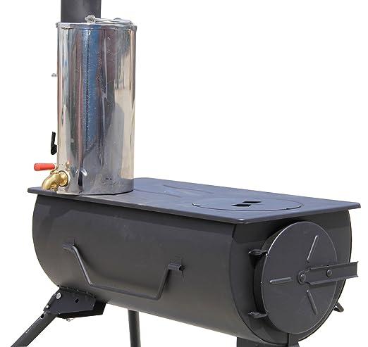 NJ Cocina Portátil de Madera para Quemar Camping + Calentador de Agua de 3 litros: Amazon.es: Deportes y aire libre