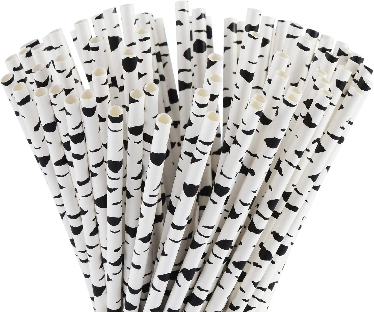 ALINK Biodegradable Cow Paper Straws, 100 Black White Birch Straws for Kids, Birthday/Farm Theme Party, Baby/Bridal Shower Decorations and Holiday