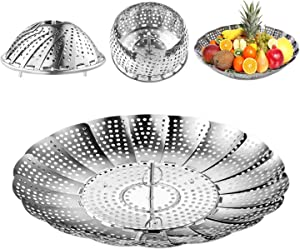 Stainless Steel Vegetable Steamer,Instant Pot Folding Steamer Basket Insert for Veggie Fish Seafood Cooking Fit Various Size Pot(Medium)