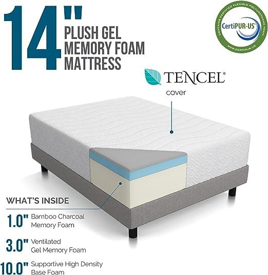Amazon Com Lucid 14 Inch Plush Memory Foam Mattress Ventilated