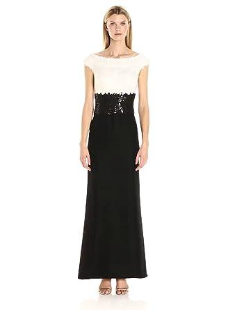 420c759ba8 Tadashi Shoji Women's Off Shoulder Sequin Lace Gown, Ivory/Black 2