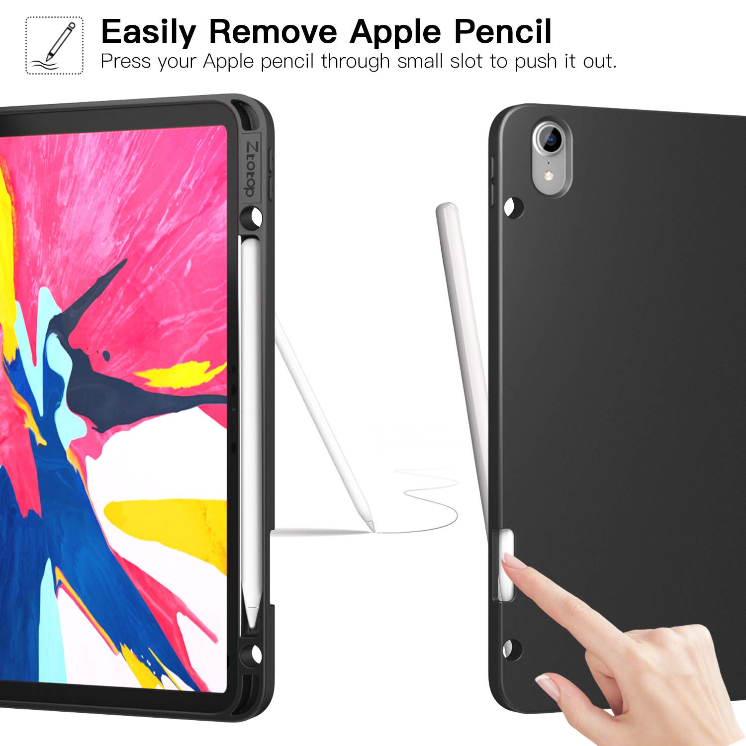 Ztotop Case for iPad Pro 12.9 Inch 2018, Full Body Protective Rugged Shockproof Case with iPad Pencil Holder, Auto Sleep/Wake, Support iPad Pencil Charging for iPad Pro 12.9 Inch 3rd Gen - Black by Ztotop (Image #5)