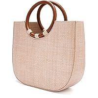 JOSEKO Bolso de playa de verano, un bolso de hombro tejido de paja para viajes de playa y uso diario de mujeres