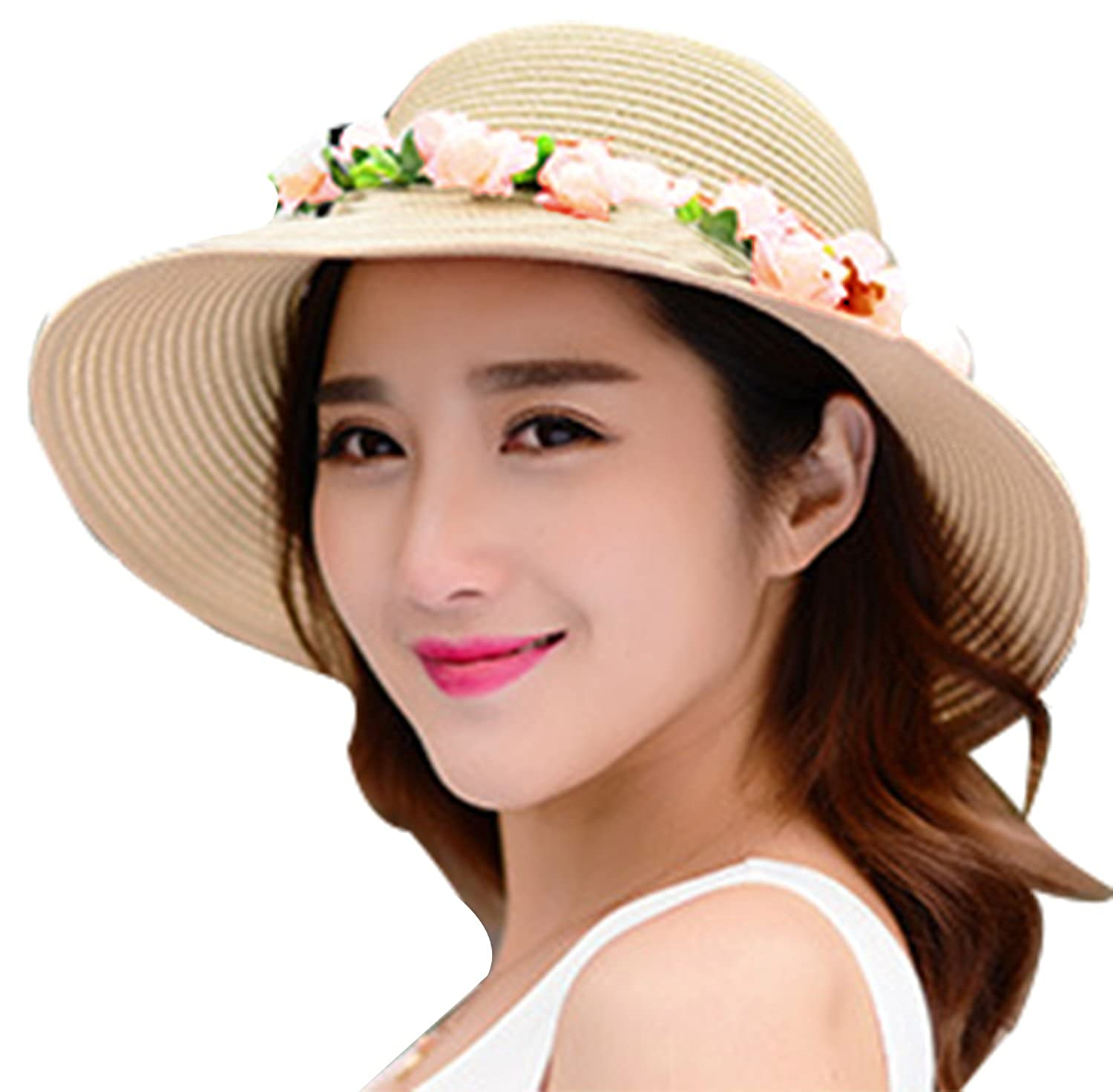 b674473c534ea Amazon.com  Lovful Womens Spring Summer Sun Protection Floppy Hats Travel  Outdoor Beach Visor Straw Hats with Flower