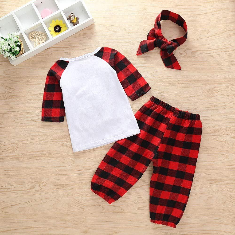 Newborn Boys Clothes Set,Cute Christmas Plaid Deer Print Blouse Shirt Bloom Pants Outfits Set Zulmaliu FG-137
