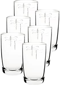 La Rochere Set of 6, 14-Ounce Dragonfly Double Old Fashioned Glasses