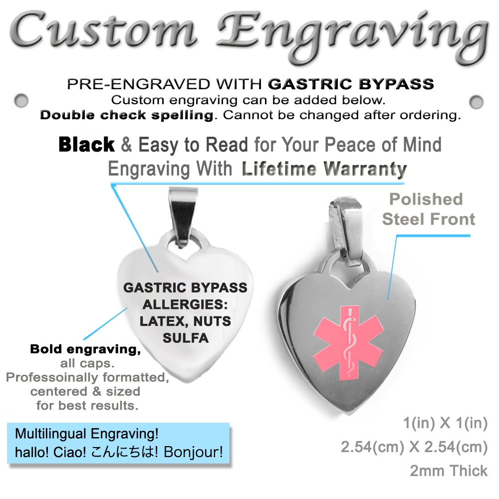 Steel My Identity Doctor Made in USA Pre-Engraved /& Customized Gastric Bypass Medical ID Heart Pendant Necklace