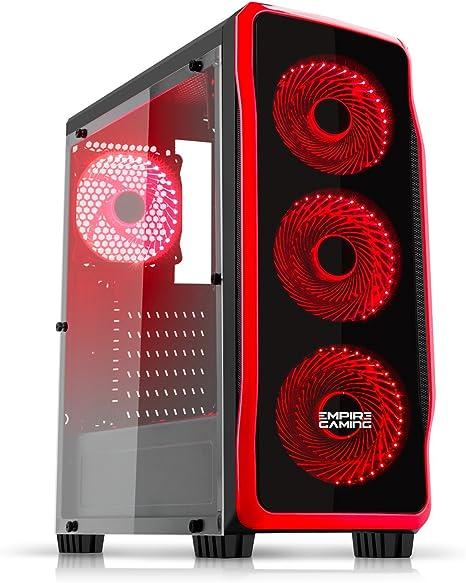 EMPIRE GAMING - Caja PC para Juegos DarkRaw Negra LED Rojo: USB 3.0 y USB 2.0, 4 Ventiladores LED 120 mm + Controlador de Ventiladores, Pared Lateral 100% Transparente - ATX/mATX/mITX: Amazon.es: Informática