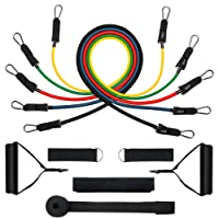 Exercise Resistance Bands Set, [Up to 150 lbs] TOPELEK Fitness Stretch Bands Workout Resistance Tube with 5 Fitness Straps, 2 Foam Handles, 2 Ankle Straps, Non-Slip Door Anchor and Carry Bag for Shoulder, Legs, Arm and Glutes Ideal for Home Gym Fitness, Physical Therapy, Strength