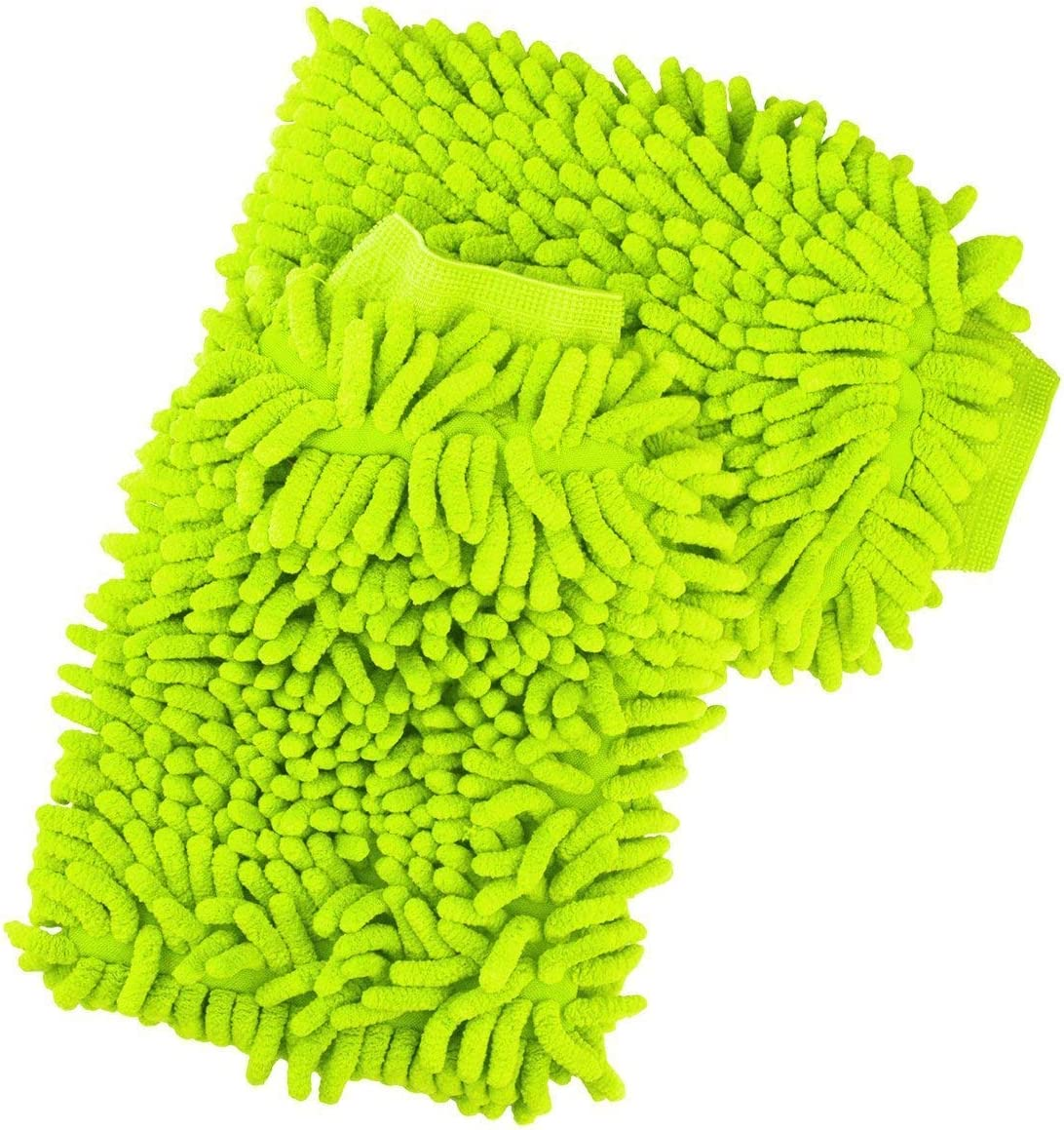 AutoXscan 2PCS Lined with Waterproof Microfiber Wash Mitt for Car Window Washing Home Cleaning Cloth Mitten (Green)