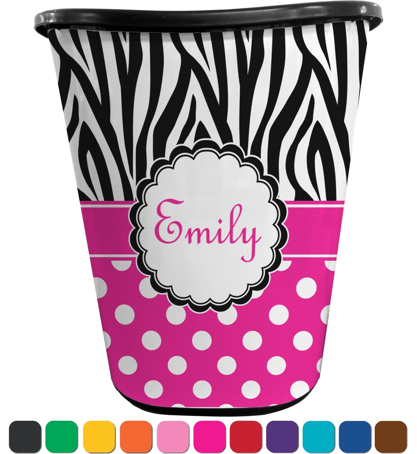 RNK Shops Zebra Print & Polka Dots Waste Basket - Single Sided (Black) (Personalized)