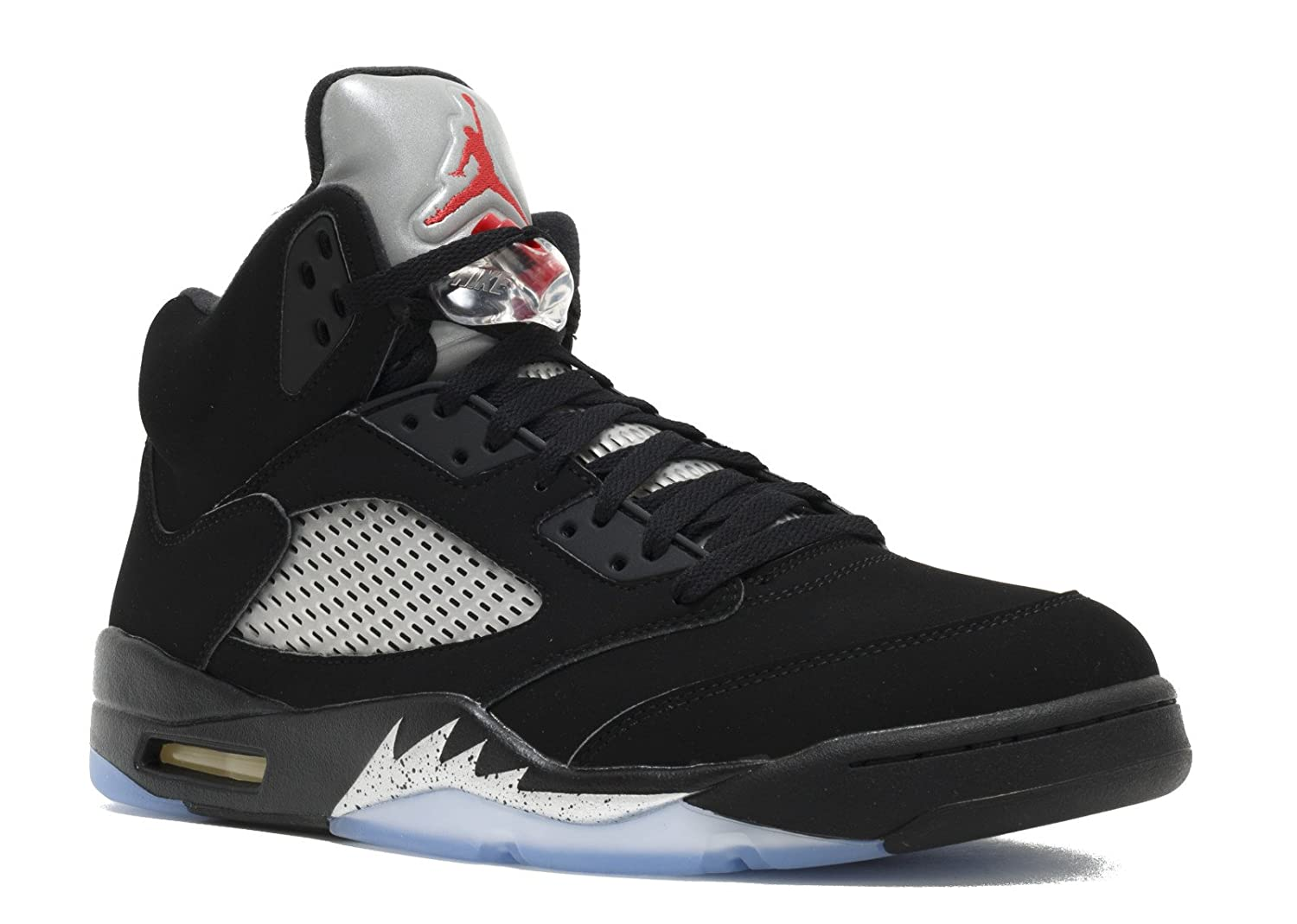 promo code 0924e 4c597 Nike Mens AIR JORDAN 5 RETRO OG, BLACK/FIRE RED-METALLIC SILVER-WHITE, 15