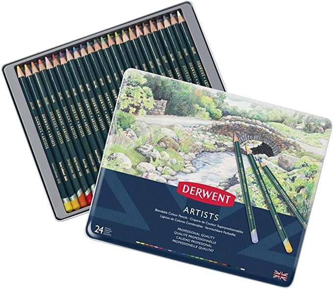 NEW 12 24 36 or 72 Colours Derwent ARTISTS Pencils Tin Set Adult Colouring Books