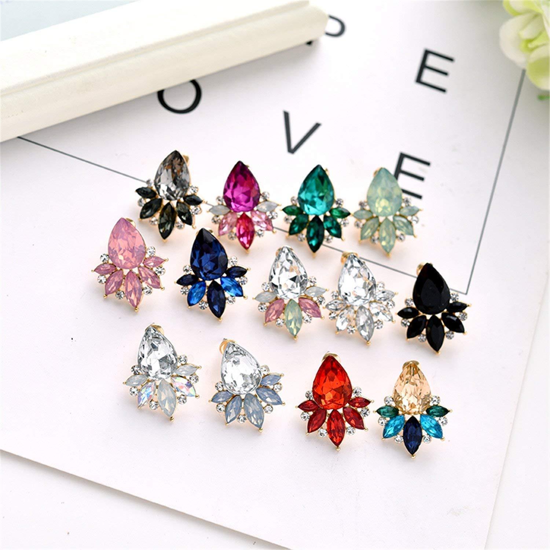 Guy-Sex Colorful Acrylic Crystal Stone Stud Earrings Fashion Rhinestone Women Piercing Earrings Birthday Gift Party Jewelry New
