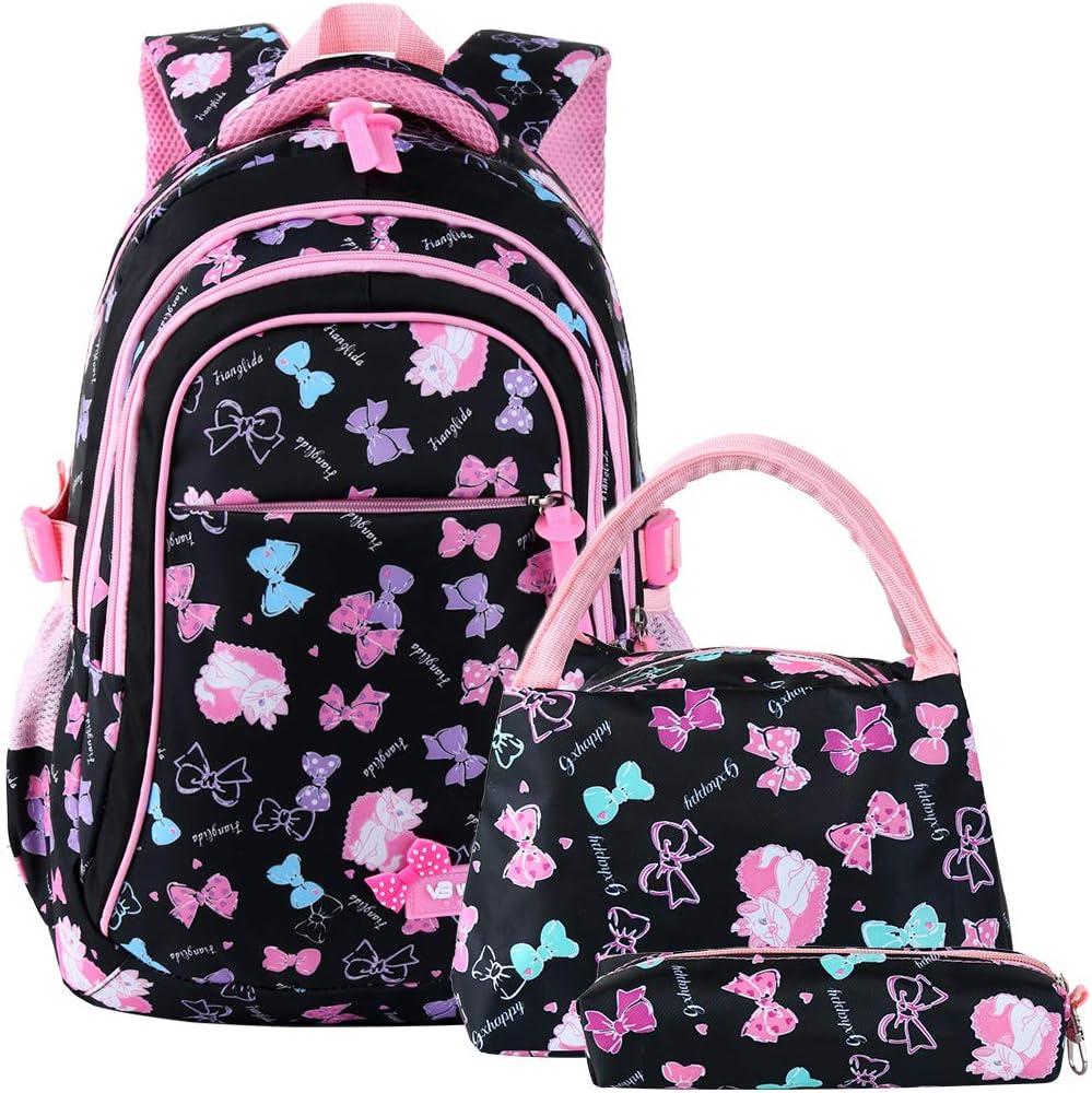 VBG VBIGER School Bags School Backpack Polka Dot 3pcs Kids Book Bag Lunch Bags Purse Girls Teen (Black-pink)