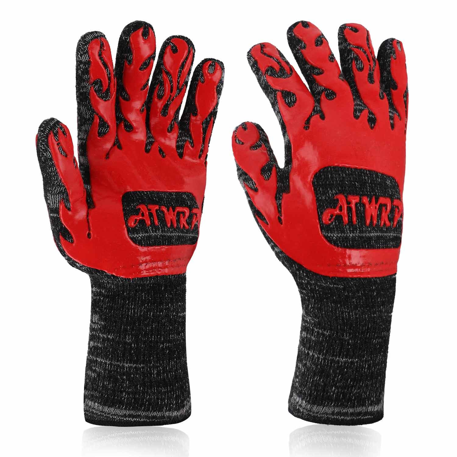 ATWRP FIREPROOF 932°F Extreme Heat Resistant BBQ Gloves by for Cooking Grilling Barbecue Charcoal Grill Smoker Tools Hot Ovens with Fingers Double Layered by ATWRP