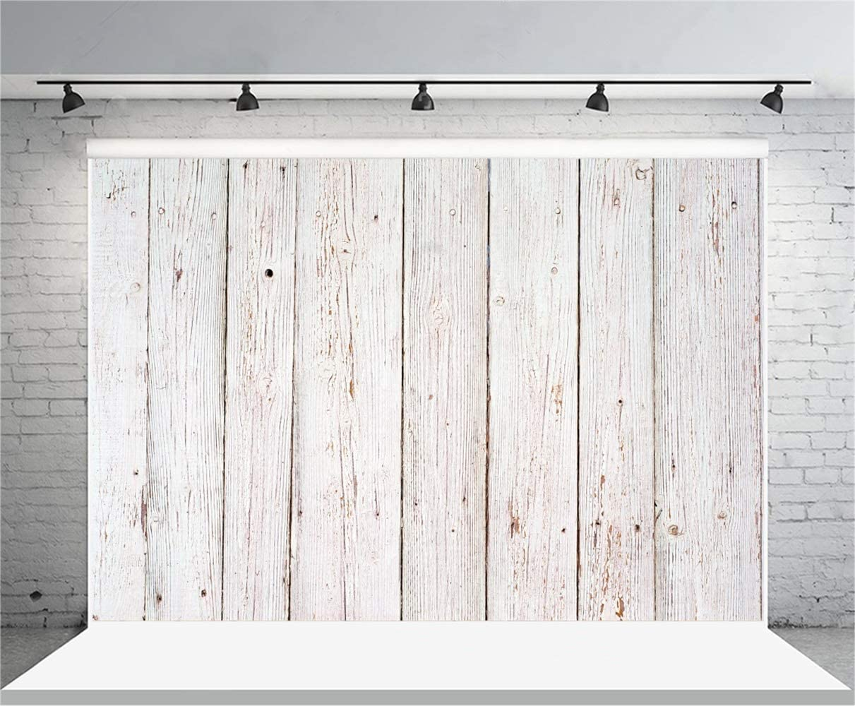 GoEoo 10x7ft Rustic Weathered Whitish Wooden Board Backdrop Vinyl Grunge Mottled Vertical Striped Wood Plank Plain Background for Photography Child Adult Portrait Kids Clothes Shoot Studio