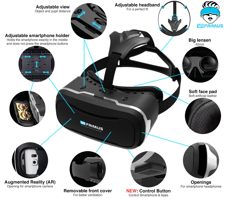 VR Box,Glasses,Shinecon,Controlador Gafas VR VR-PRIMUS VX3 iPhone,Samsung Galaxy,HTC,Sony,LG,Huawei Mando Google Cardboard QR,Bot/ón de Control,Augmented Reality para Smartphone s p.ej