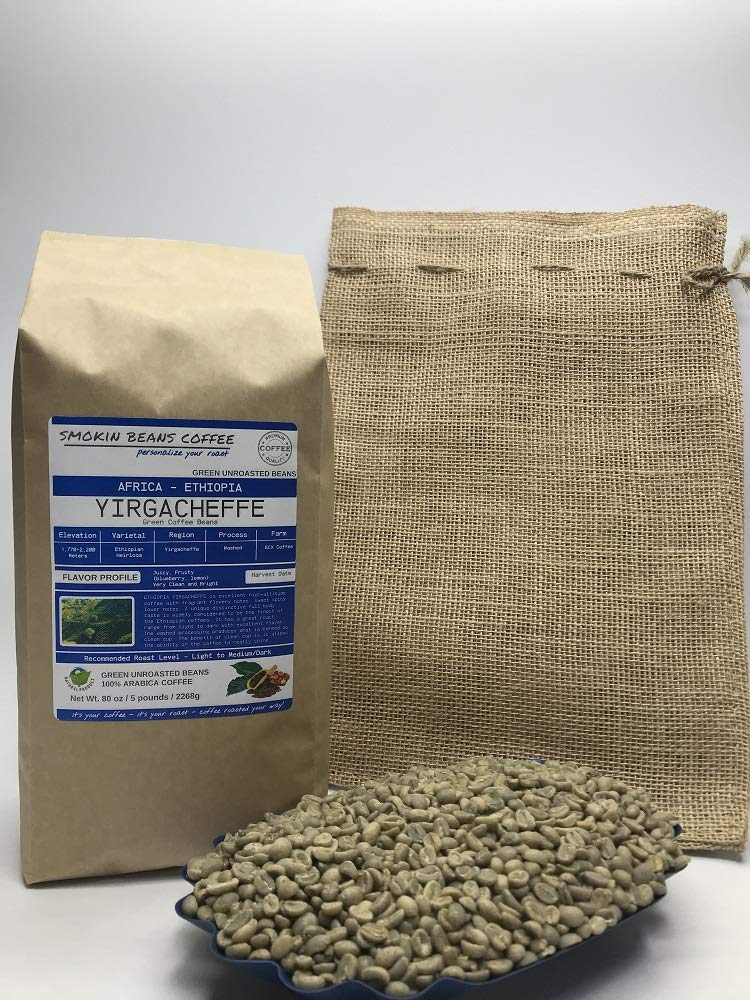 Amazon Com 5 Pounds African Ethiopia Yirgacheffe Unroasted Arabica Green Coffee Beans Varietal Ethiopian Heirloom Drying Milling Process Washed Sundried Unique Distinctive Taste Includes Burlap Bag Grocery Gourmet Food