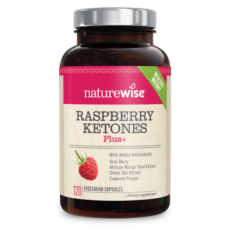 NatureWise Raspberry Ketones Plus | Advanced Weight Loss & Appetite Suppressant with Powerful Antioxidant Blend | Boosts Energy & Metabolism, Vegan, Gluten-Free | 120 Veggie Capsules