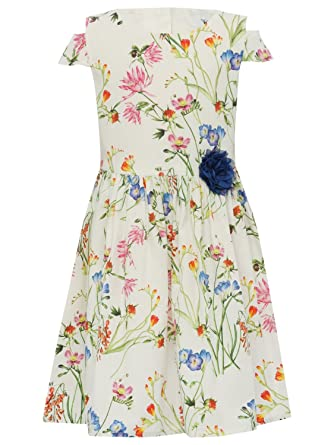 M&Co Girls Cotton White Floral Print Short Cold Shoulder Sleeves Blue Flower Corsage Prom Dress White