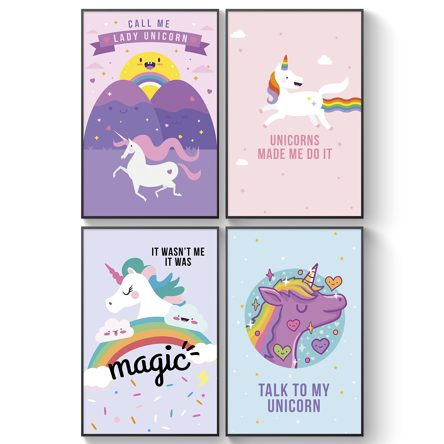 Pillow & Toast Unicorn Rainbow Wall Art: Set of FOUR 11 x 17'' Posters for Girls Bedroom, Teens GOOD VIBES to Decorate Room - 4-Pack, Girly Magical Unicorns. by Pillow & Toast