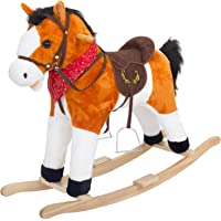 Baybee Unicorn Horse Wooden Plush Rocking Horse with Realistic Sounds | Safely Holds Children ( Yellow )