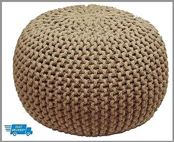 Knitted Pouffe en tricot marocain Grand pouf rond Repose-pieds Maille  épaisse à la main 719dbe6aeb1