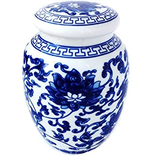 Decorative Blue And White Lotus Pattern Porcelain Tea Storage Container Or  Display Unit (Medium Size