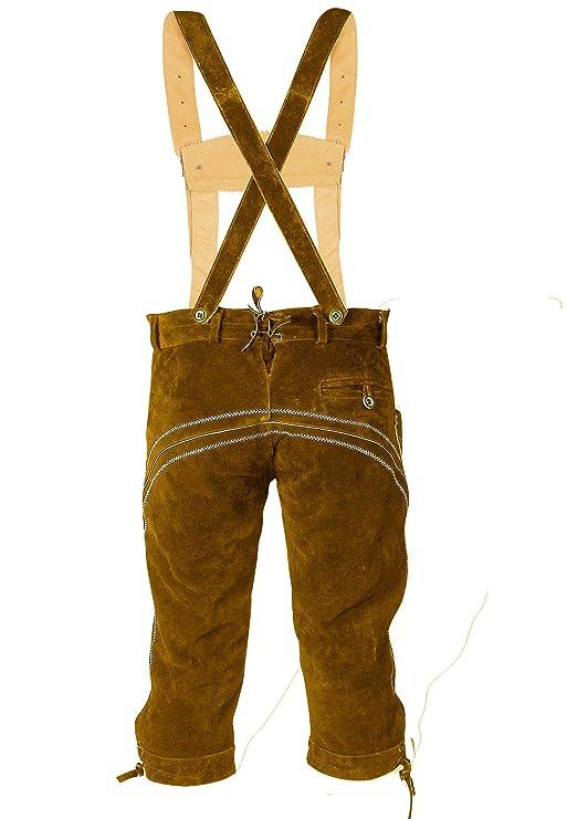 ALL THE GOOD Herren Trachten set Oktoberfest (Hose +Hemd +Schuhe +Socken) Bayerische Lederhose Trachtenhose Leder Hose S3