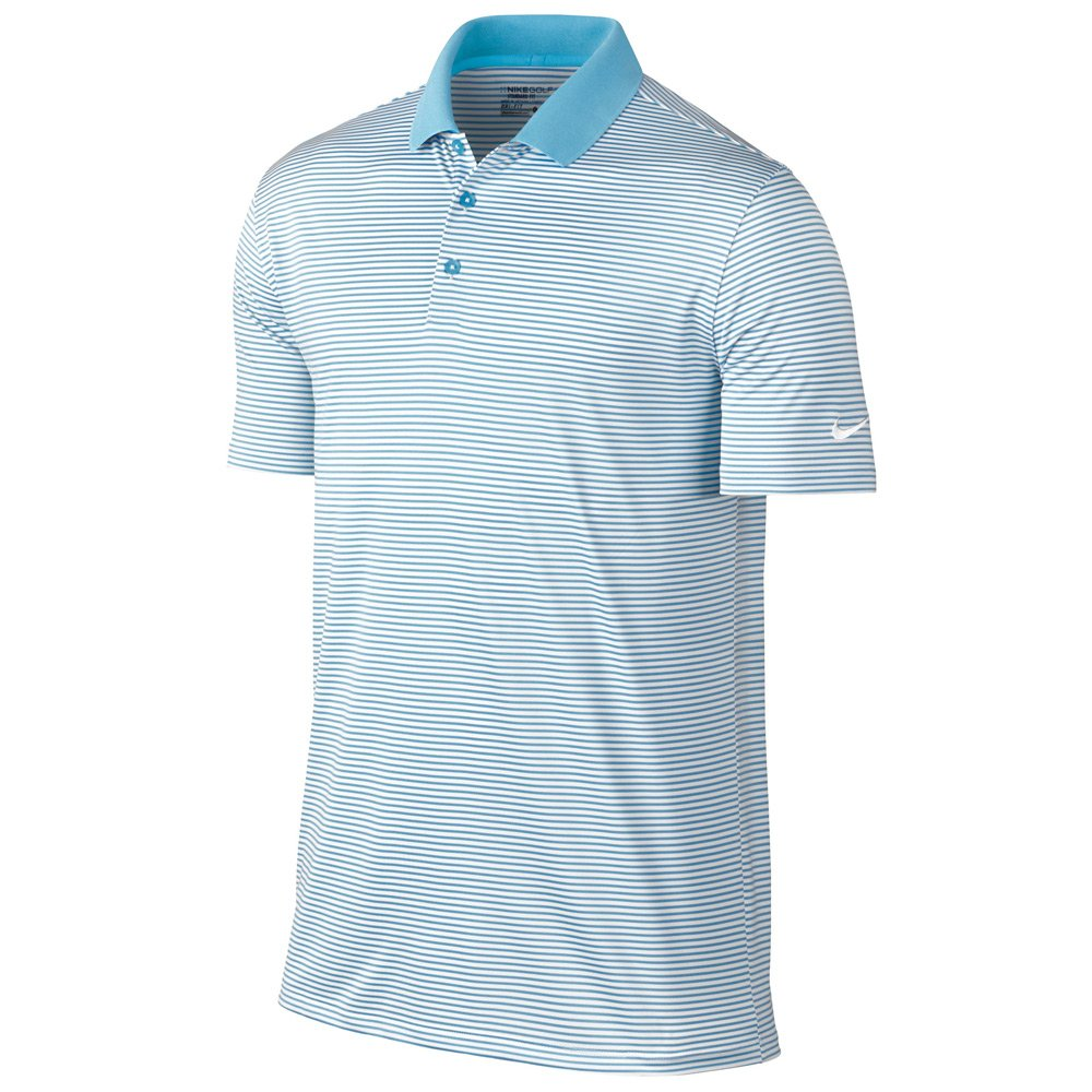 Nike Victory Mini Stripe Golf Polo 2017 Vivid Sky/White Small