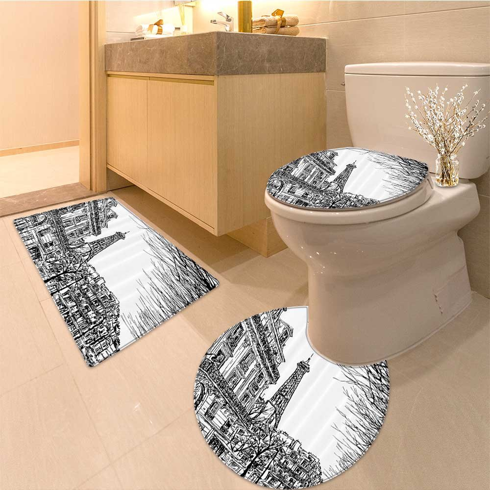 3 Piece Anti-slip mat set Collection Touristic Colorfu Sketch of in French Style Trave Illustration Artsy Work Non Slip Bathroom Rugs