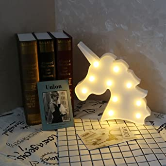 JUN_L 3D Unicorn Marquee Battery Light With 10 Warm White LEDs Home  Decoration LED Marquee Sign