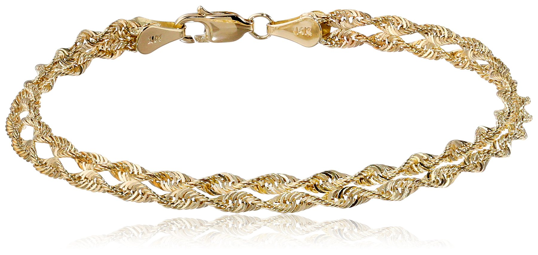 14k Yellow Gold Double Twist Rope Bracelet, 7.5''