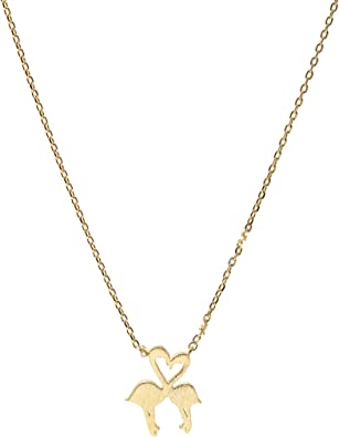 SpinningDaisy Handcrafted Brushed Metal Love Heart Flamingo Necklace