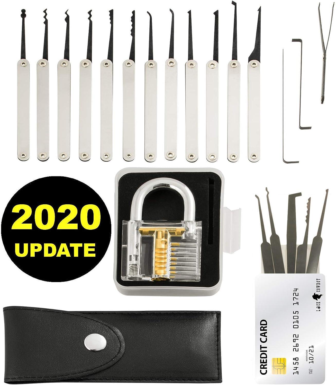 Juego de ganz/úas para cerraduras BOMPOW kit de herramientas con 2 cerraduras de pr/áctica transparentes gu/ía profesional y herramienta extractora para principiantes 24 piezas