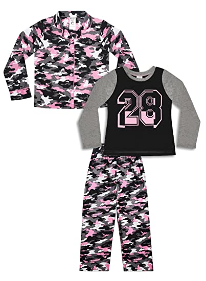 6a30e4f38 Amazon.com  Girl s 3 Piece Pajama Set - Pink Dog and Camo Print ...