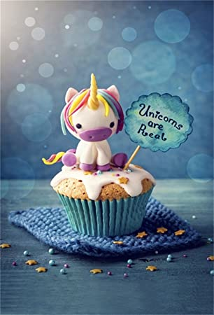 Amazoncom Csfoto 4x6ft Background For Unicorn Cupcake Blue