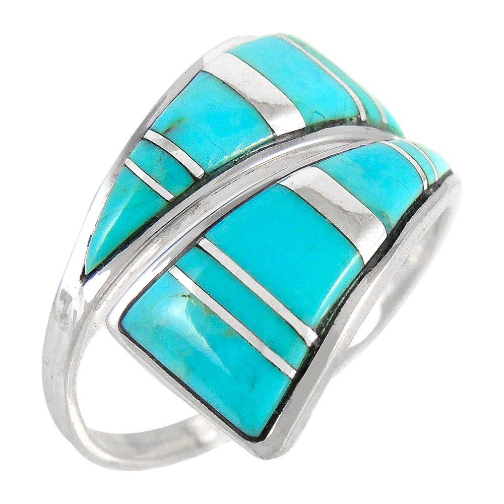 925 Sterling Silver Ring with Genuine Turquoise Sizes 6 to 11 (7) by Turquoise Network