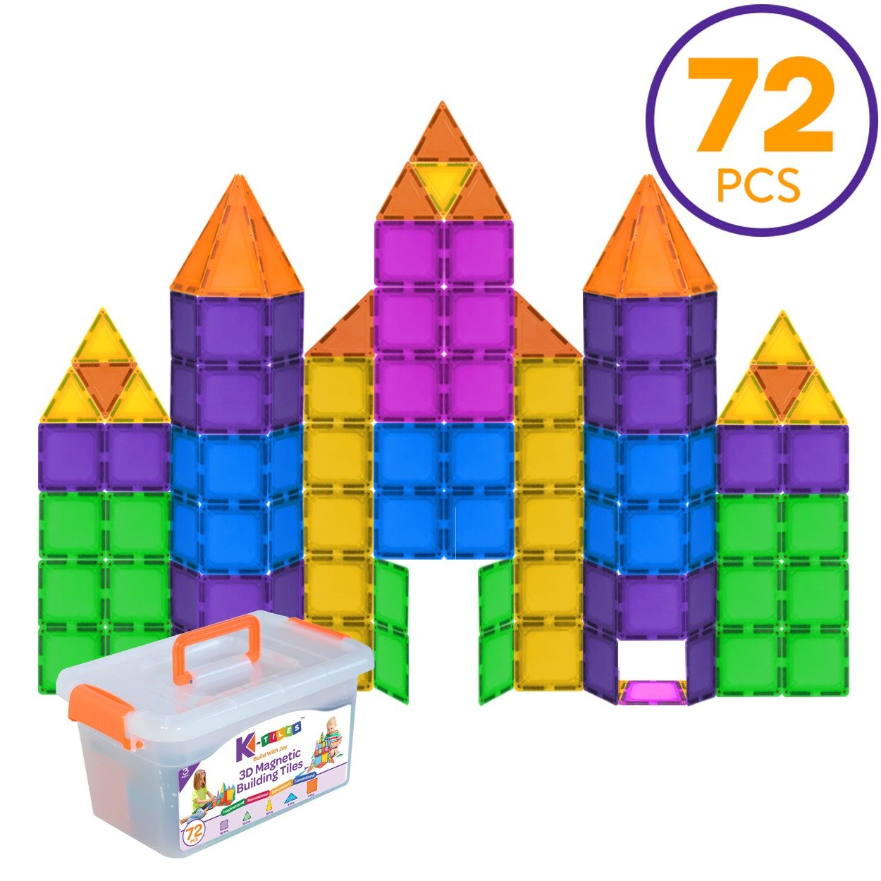 Magnetic blocks Magnetic Building Blocks For Kids (72 Pieces): Colorful Tiles With Strong Magnets, Educational Toys For Children, Creativity, Imagination, & Motor Skills For Girls & Boys Review