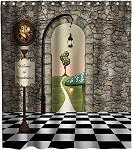 Lifeasy Fairy Tale Castle Stone Wall Shower Curtain Black and White Checkerboard Cloth Fabric Bathroom Decor Sets with Hooks Waterproof Washable 72 x 72 inches