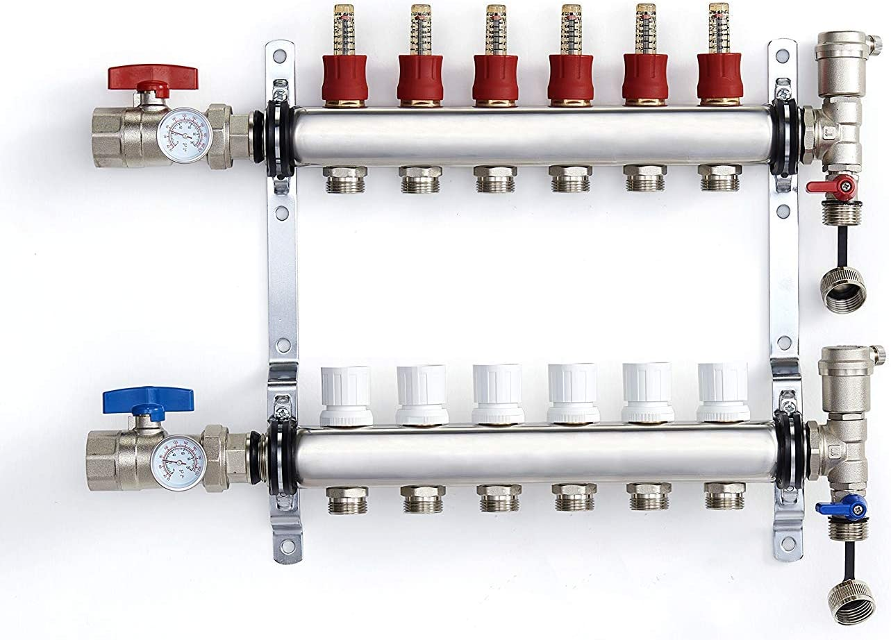"""PEX Manifold Radiant Floor Heating Set 6 Loop System Stainless Steel Heated Hydronic Heating For 1/2"""" Oxygen Barrier Tubing"""