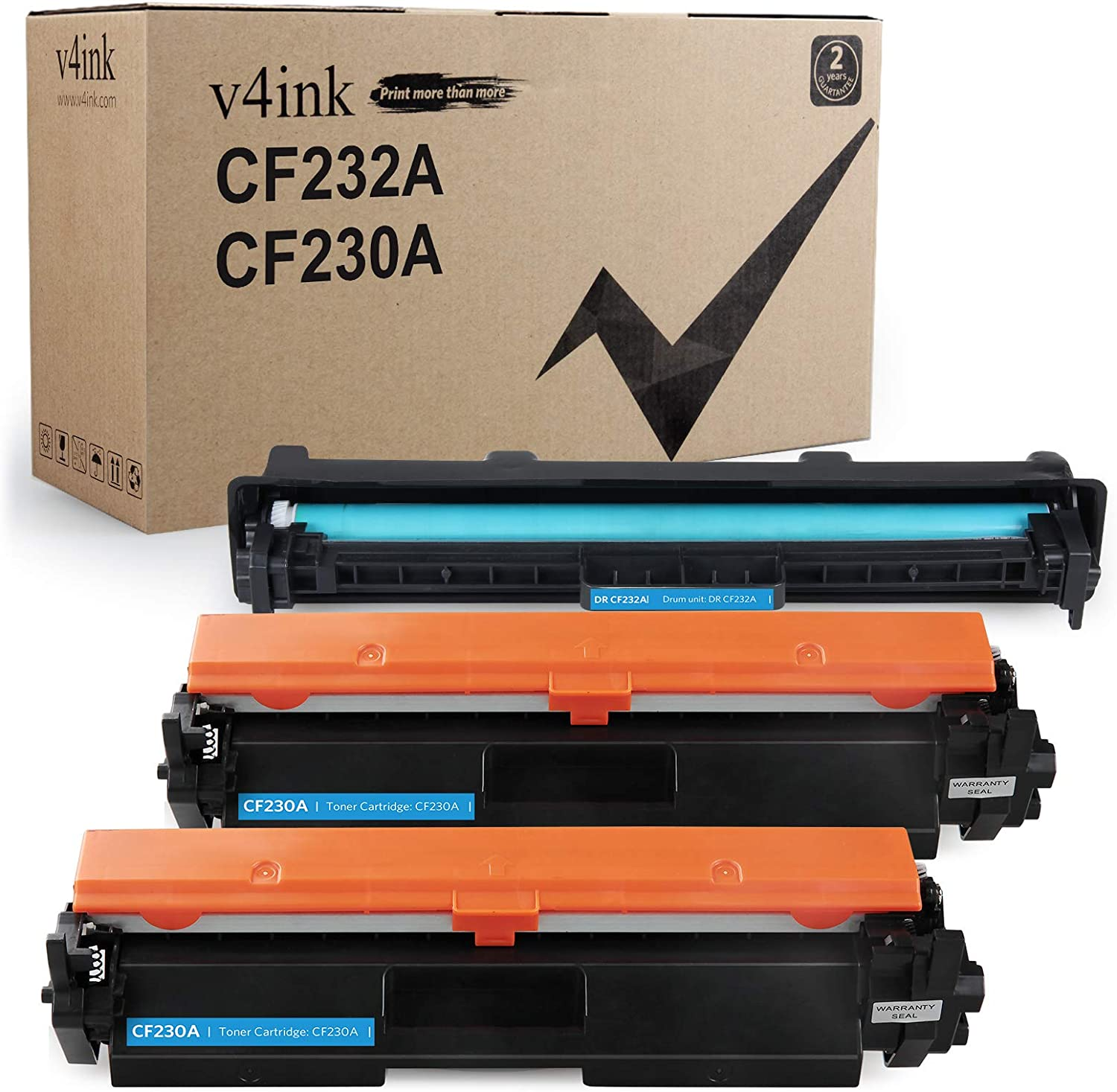 V4INK 3PK Compatible Replacement for HP 30A 32A CF230A Toner Cartridge CF232A Drum Black Set for HP Laserjet Pro MFP M227fdw M227fdn M227sdn M227 M203dw M203d M203dn M203 Printer – 1xDrum + 2xToners