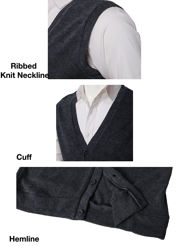 H2H Mens Casual Slim Fit V-Neck Knit Sweater Vest Lightweight Thermal
