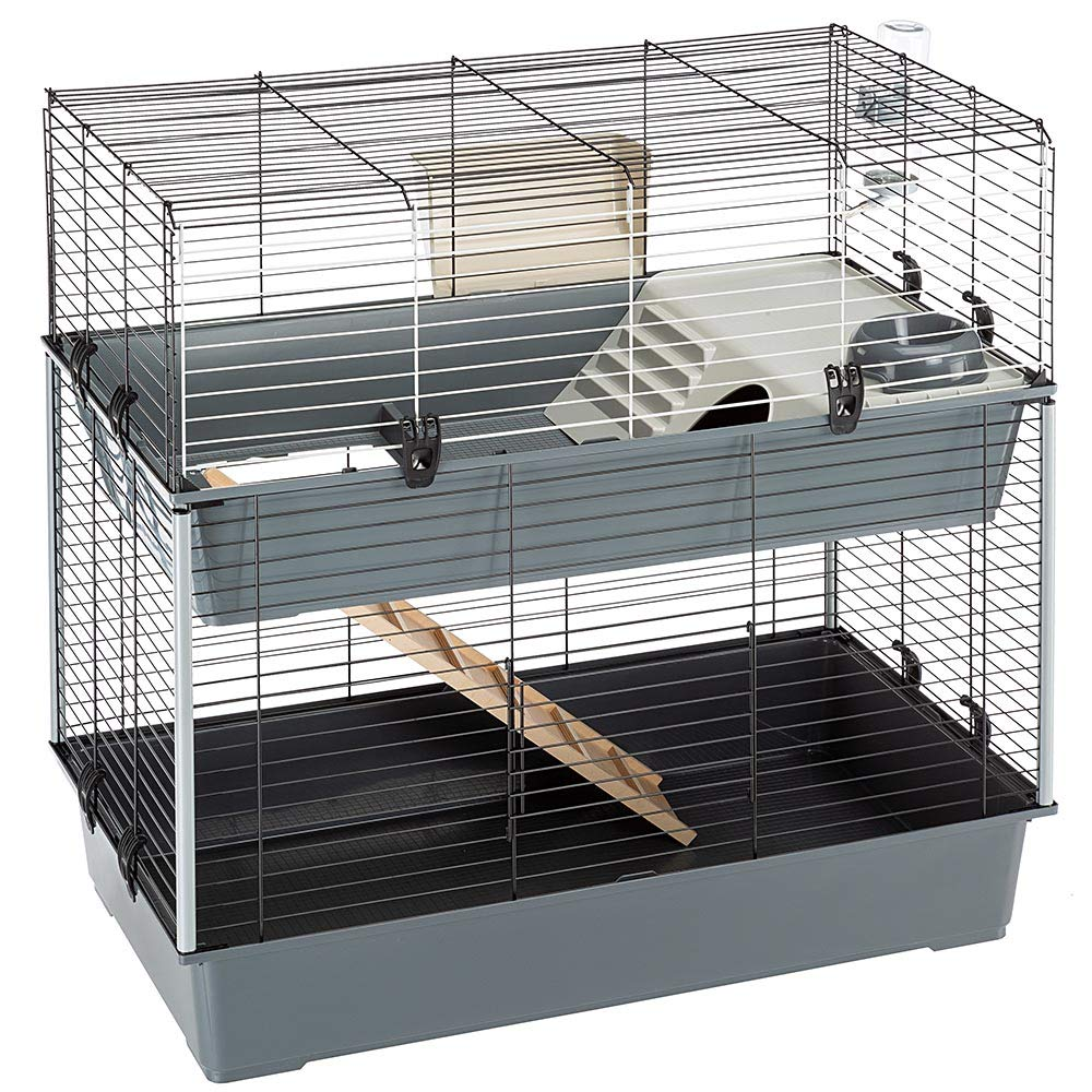 Ferplast Krolik Extra-Large Two-Story Rabbit Cage in Burgundy | Rabbit Cage Includes All Accessories & Measures 39L x 20.3W x 36.2H & Includes All Accessories | 1-Year Manufacturer's Warranty by Ferplast