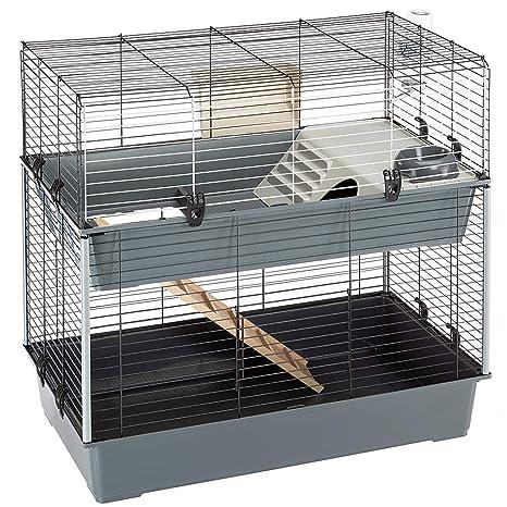 Ferplast Jaula de Dos Pisos para Conejos Rabbit 100 Double, Casa para pequeños Animales, Conejera con Accesorios incluidos, de Alambre Pintado Negro y ...